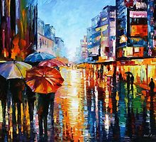 Night Umbrellas — Buy Now Link - www.etsy.com/listing/193230081 by Leonid  Afremov