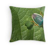 hungry green bug Throw Pillow