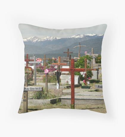 buried in the mountains Throw Pillow