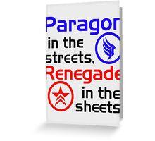 Paragon vs. Renegade Greeting Card