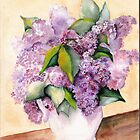""" Lilacs In White Pitcher"" by Marsha Woods"