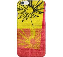 Vintage Floral Pattern on Burlap Rustic Jute iPhone Case/Skin