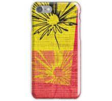 Vintage Floral Pattern on Burlap Rustic Jute iPhone Case/Skin
