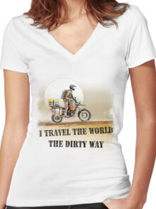 I Travel the World the Dirty Way Women's Fitted V-Neck T-Shirt