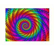 Psychedelic Rainbow Fractal Spiral Art Print
