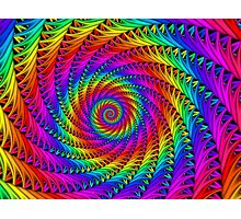 Psychedelic Rainbow Fractal Spiral Photographic Print