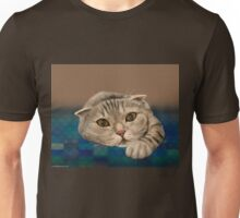 Brown Furry Cat with Honey Eyes Lying Down and Staring Directly at You Unisex T-Shirt