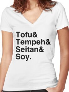 Tofu & Tempeh & Seitan & Soy. Women's Fitted V-Neck T-Shirt