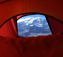 View from tent of Kilimanjaro summit from Karanga Valley Camp (14,000ft) by KidA
