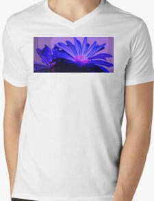 Flower  in Blue and Pink With Purple Pop Art Abstract Mens V-Neck T-Shirt