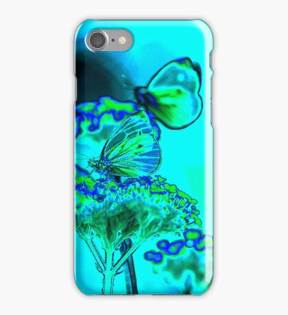 Butterfly on verbena in blue iPhone Case/Skin