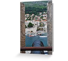 Dubrovnik view through canon port Greeting Card