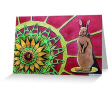 414 - FLOWER-LOVING BUNNY II - DAVE EDWARDS COLOURED PENCILS - 2015 Greeting Card
