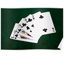Poker Hands - Flush - Clubs Suit Poster