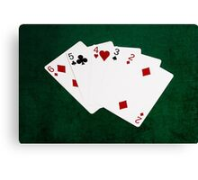 Poker Hands - Straight - Six To Two Canvas Print
