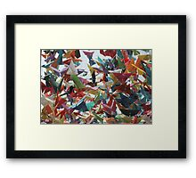 Multi-colored Origami Butterflies Framed Print