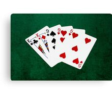 Poker Hands - Two Pair - King, Nine Canvas Print
