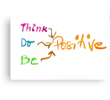 Think Positive, colorful hand writing on paper, positive thinking conceptual image Canvas Print