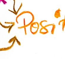 Think Positive, colorful hand writing on paper, positive thinking conceptual image Sticker