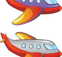 Colorful cartoon airplane by AnnArtshock