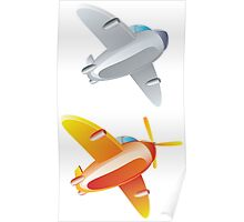 Colorful cartoon airplane 2 Poster