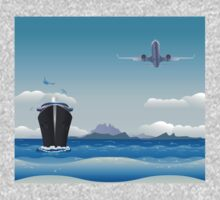 Big airplane in the sky and cruise liner in the sea Kids Tee