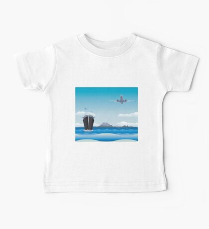 Big airplane in the sky and cruise liner in the sea Baby Tee