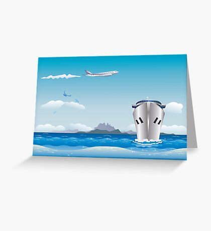 Big airplane in the sky and cruise liner in the sea Greeting Card