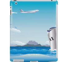 Big airplane in the sky and cruise liner in the sea iPad Case/Skin