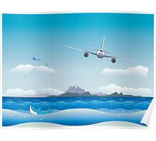Airplane over Sea Poster
