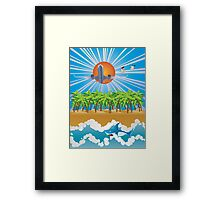 Airplane fly over tropical island Framed Print