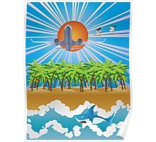 Airplane fly over tropical island Poster