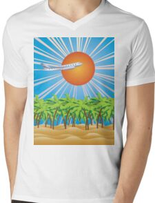 Airplane fly over tropical island 2 Mens V-Neck T-Shirt