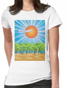 Airplane fly over tropical island 2 Womens Fitted T-Shirt