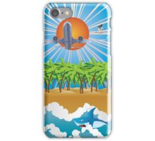 Airplane fly over tropical island iPhone Case/Skin