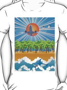 Airplane fly over tropical island T-Shirt