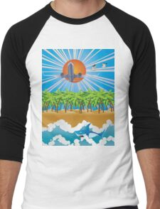 Airplane fly over tropical island Men's Baseball ¾ T-Shirt