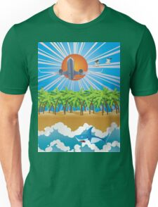 Airplane fly over tropical island Unisex T-Shirt