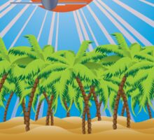 Airplane fly over tropical island Sticker