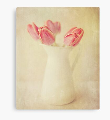 Textured Vintage Pink Tulips Canvas Print