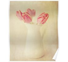Textured Vintage Pink Tulips Poster