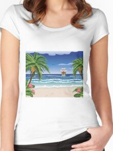 Cartoon boat and beach Women's Fitted Scoop T-Shirt