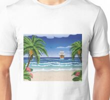 Cartoon boat and beach Unisex T-Shirt