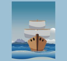 Cartoon boat in the sea Kids Clothes