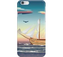 Old sailing ship on the open ocean at sunset iPhone Case/Skin