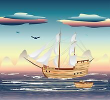 Old sailing ship on the open ocean at sunset by AnnArtshock