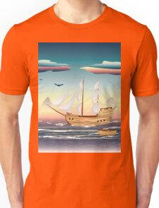 Old sailing ship on the open ocean at sunset Unisex T-Shirt