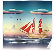 Old sailing ship on the open ocean at sunset 2 Poster