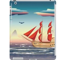 Old sailing ship on the open ocean at sunset 2 iPad Case/Skin
