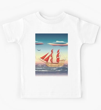 Old sailing ship on the open ocean at sunset 2 Kids Tee
